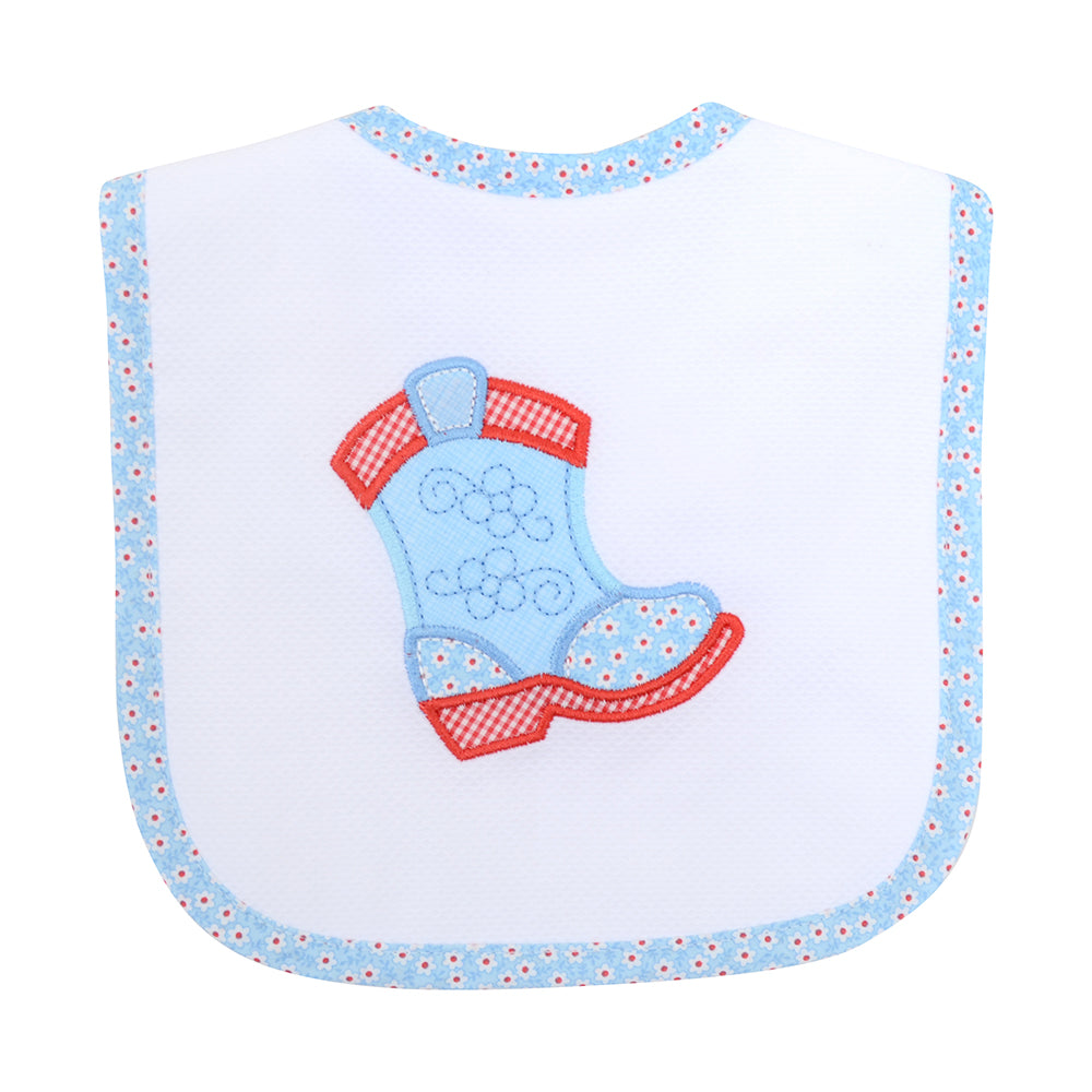 Appliqued Feeding Bib - Cowgirl