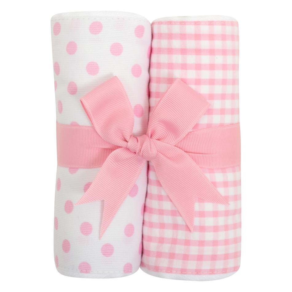 Burp Cloth Set - White/Pink Dots