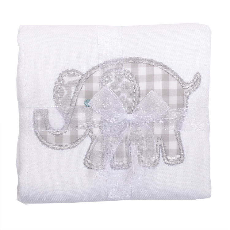 Appliqued Feeding Burb Cloth - Gray Elephant