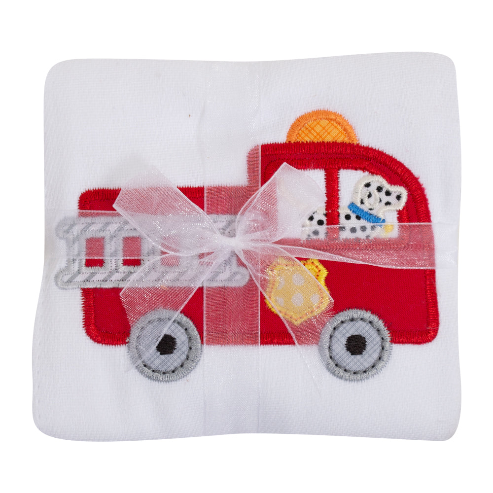 Appliqued Feeding Burb Cloth - Firetruck