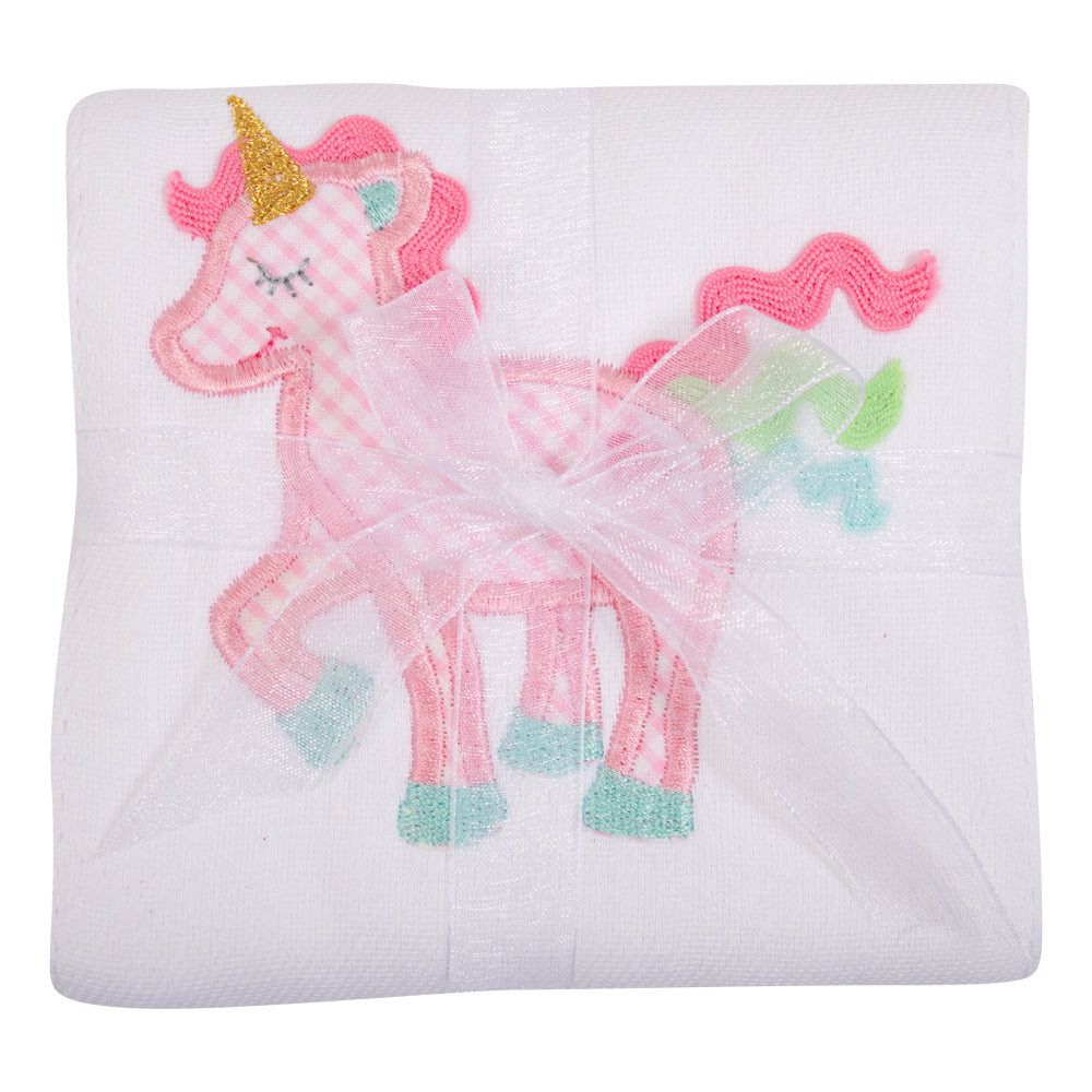 Appliqued Feeding Burb Cloth - Unicorn