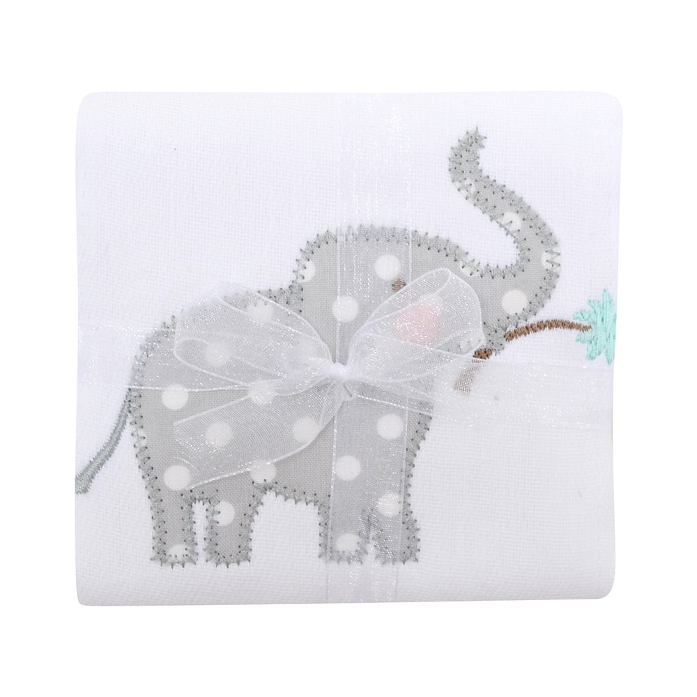 Appliqued Feeding Burb Cloth - Safari