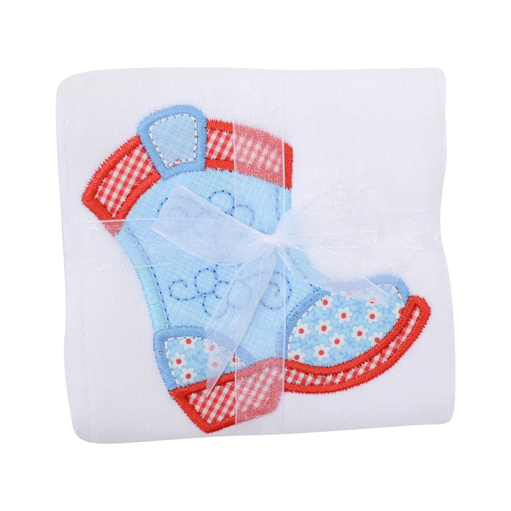 Appliqued Feeding Burb Cloth - Cowgirl