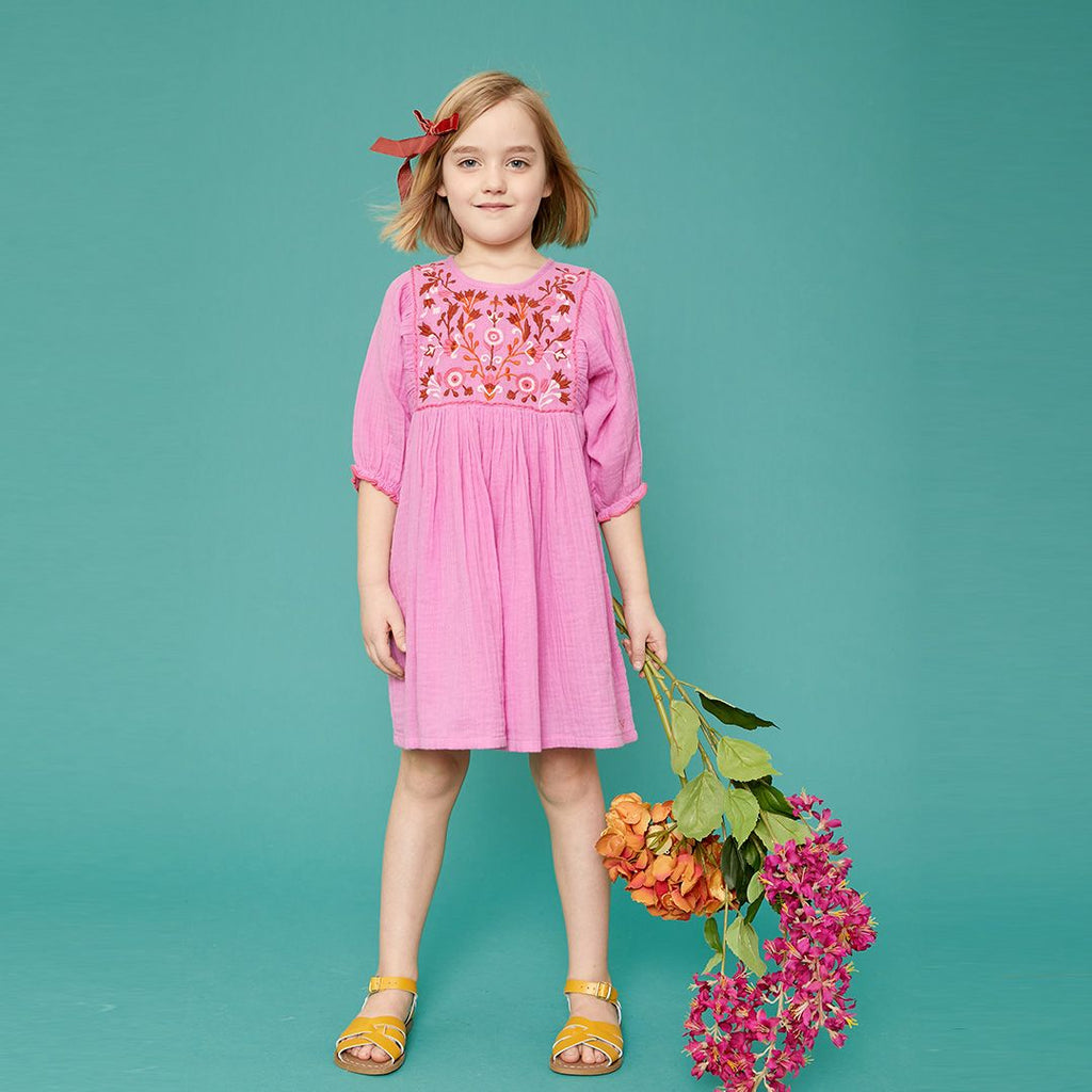 Arianna Dress - Cyclamen Pink w/Multi Embroidery