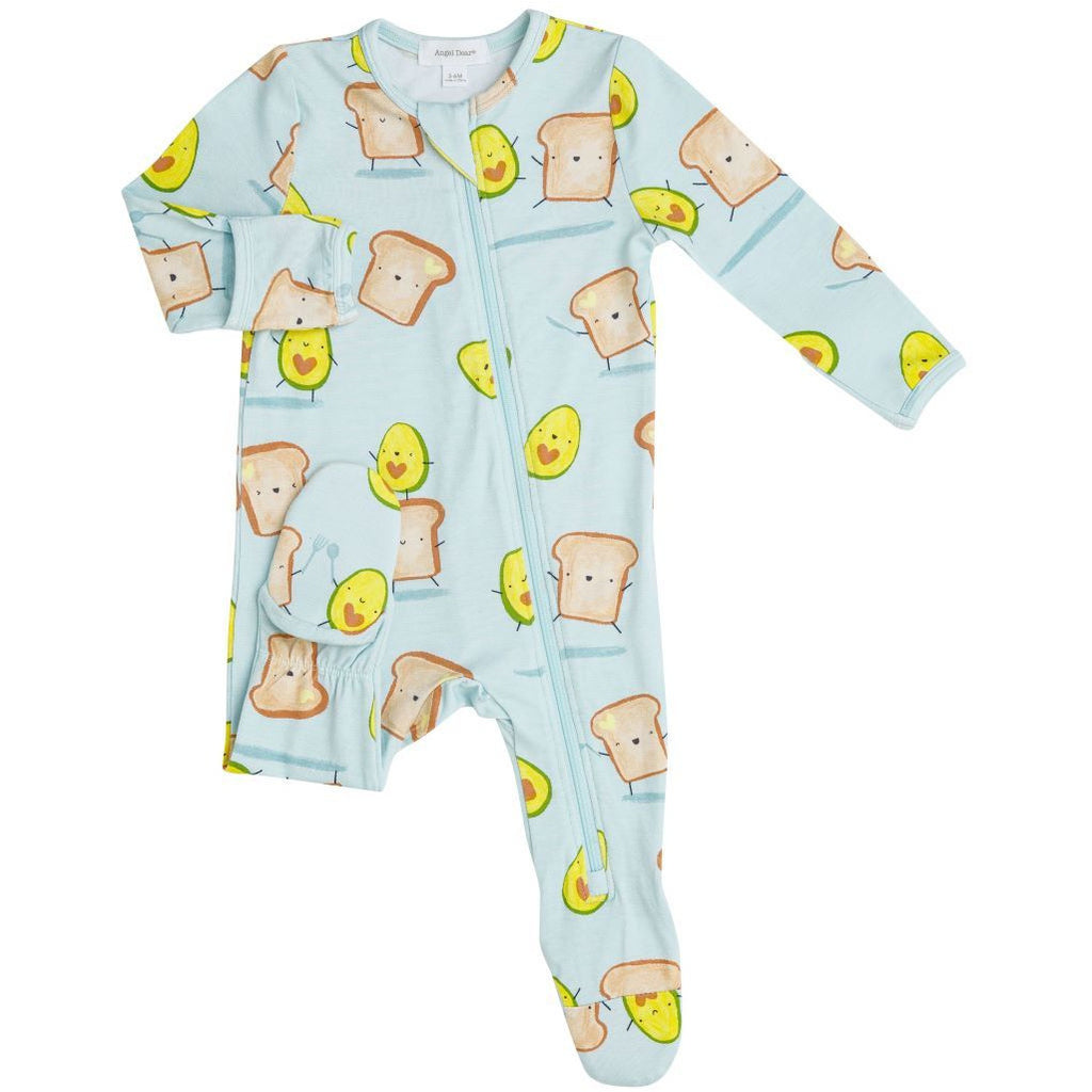 Front Zipper Footie PJ - Avocado + Toast