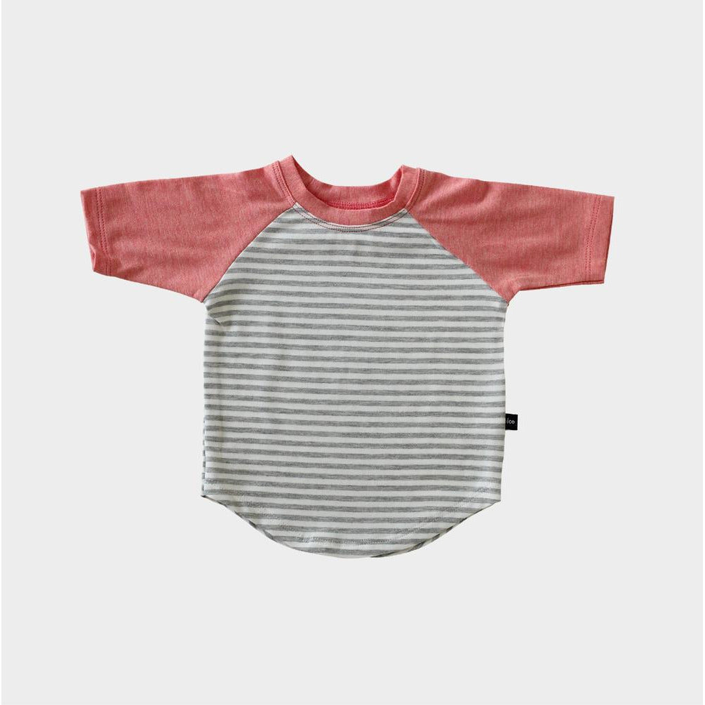 Baseball Tee - Light Gray Stripe