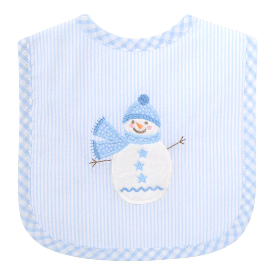 Feeding Bib - Blue Snowman