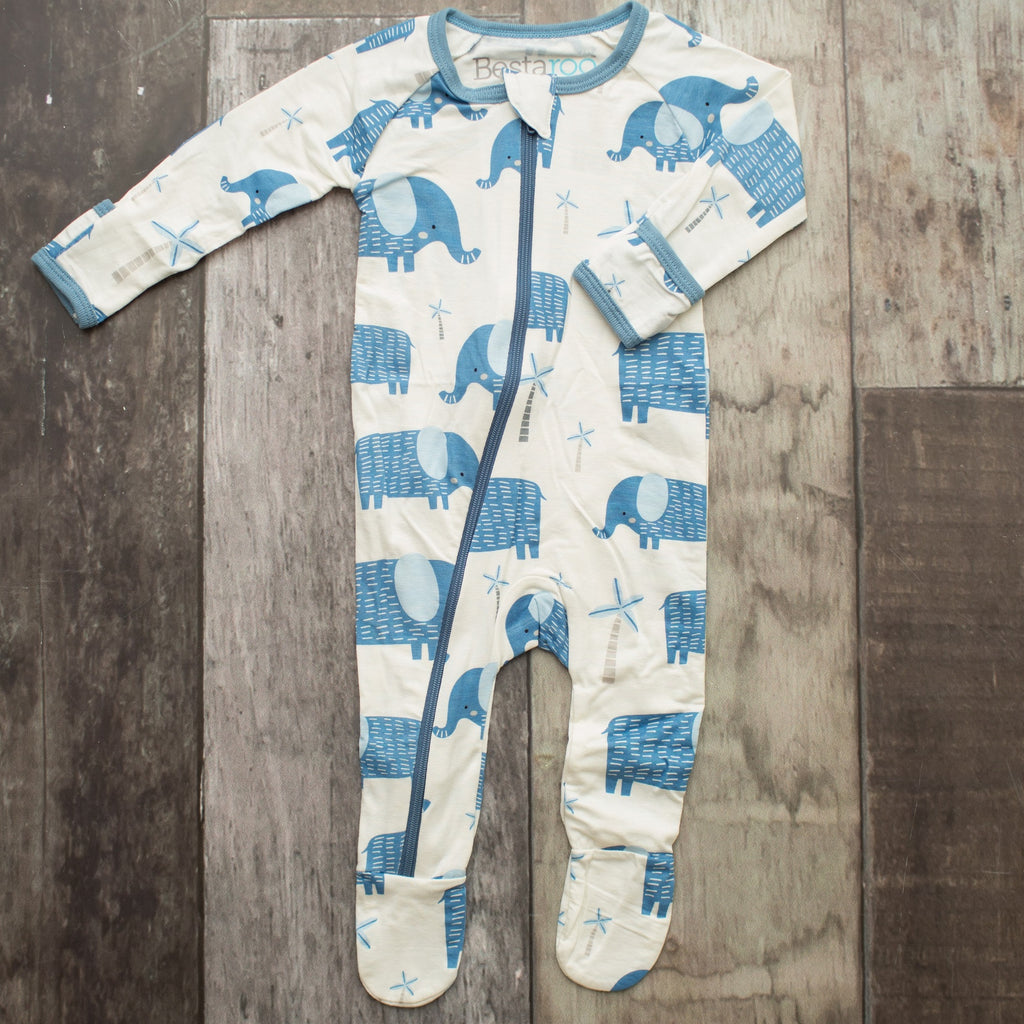 Footie Pajamas - Blue Elephant