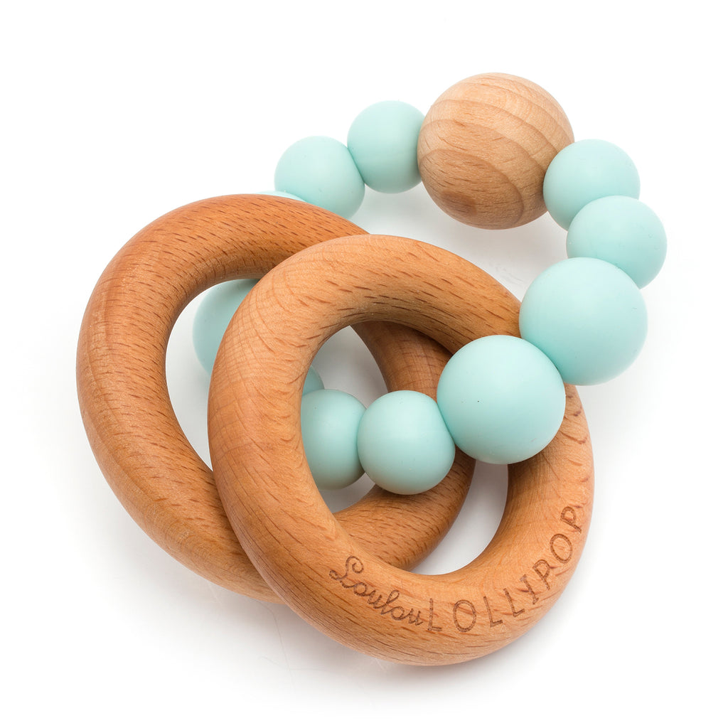 Bubble Silicone and Wood Teether - Robin's Egg Blue