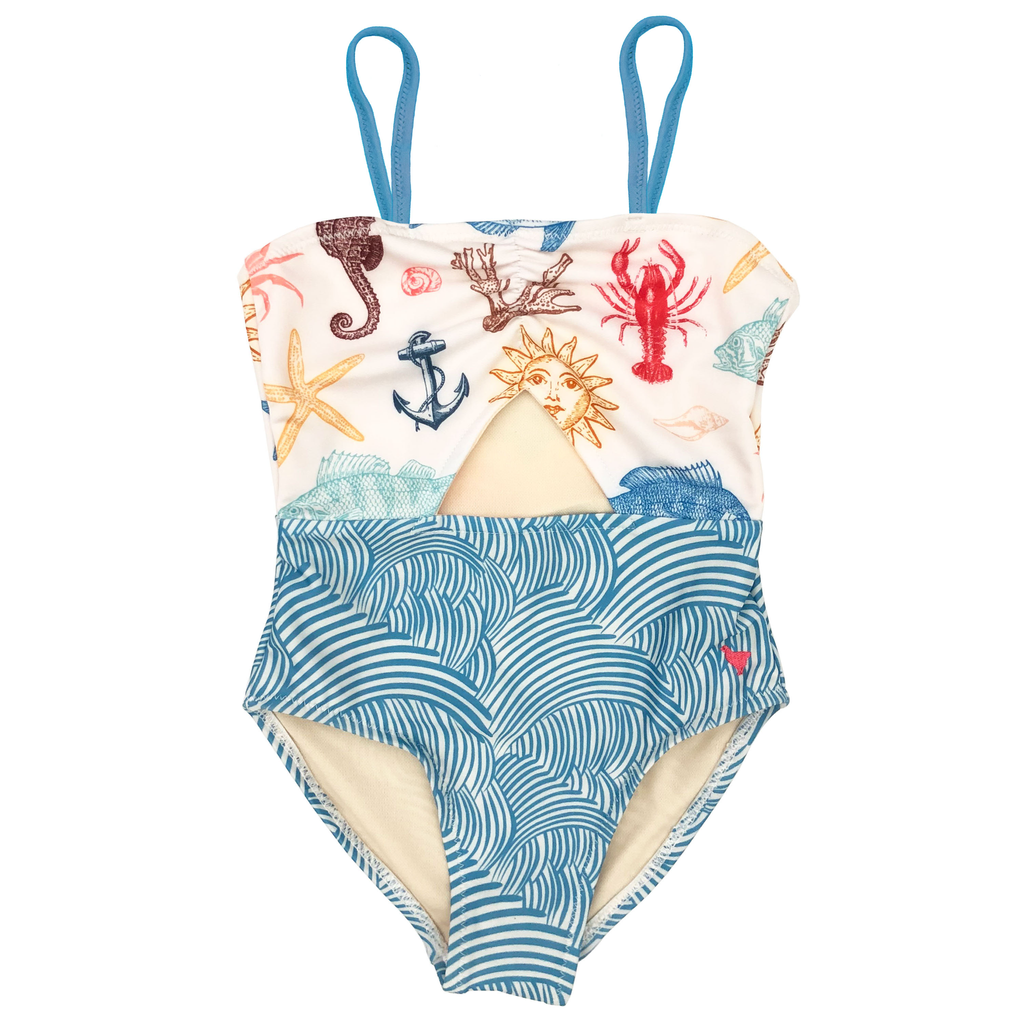 Carrie Cut-Out Suit - Multi Sea Creatures