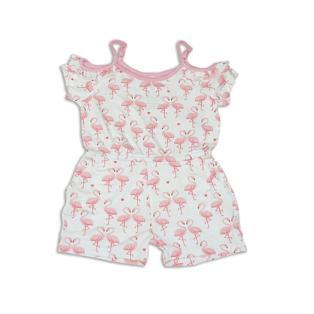 Cold Shoulder Coverall - Flamingo Love