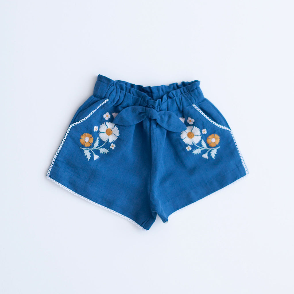 Embroidery Shorts - Blue