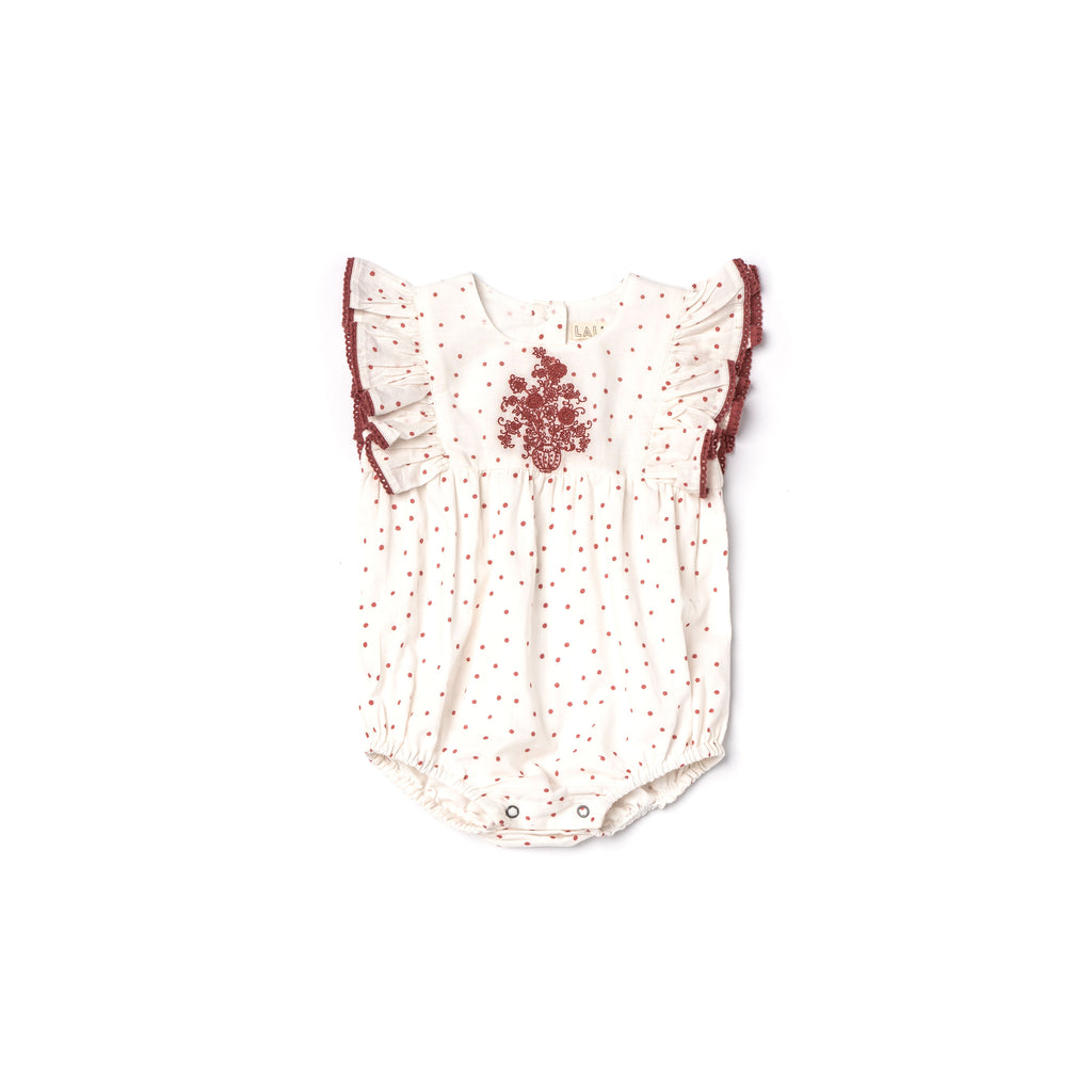 Flora Romper - Red Polka Dot