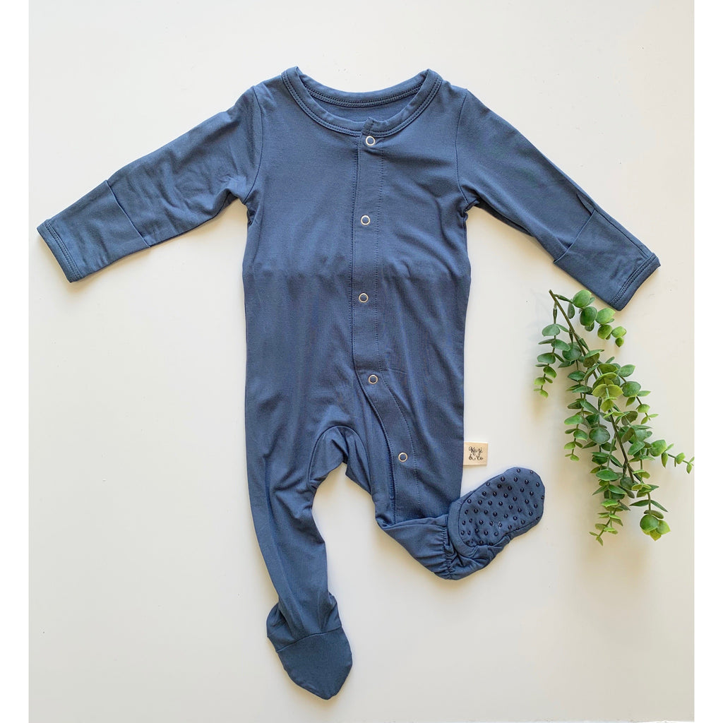 Footed Pajamas - Stone Blue