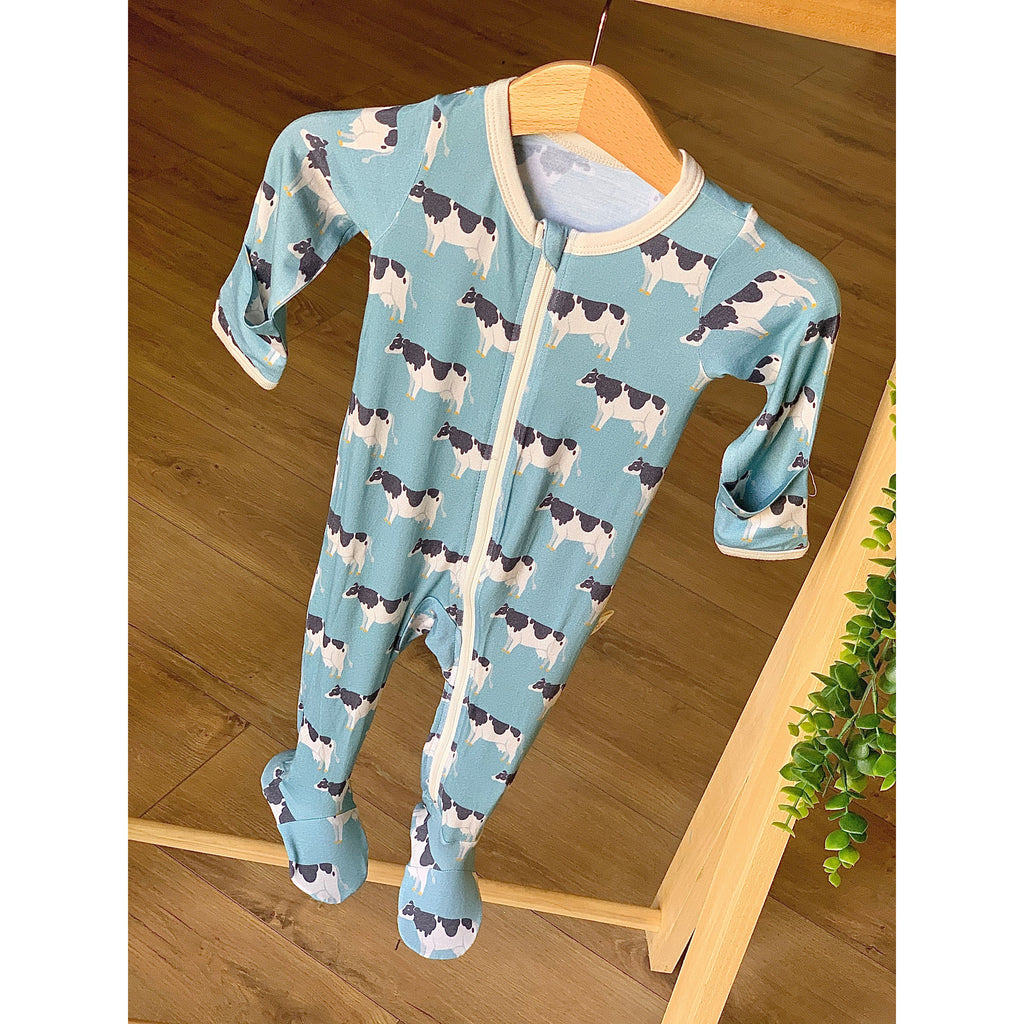 Footed Zipper PJ - Blue Cow