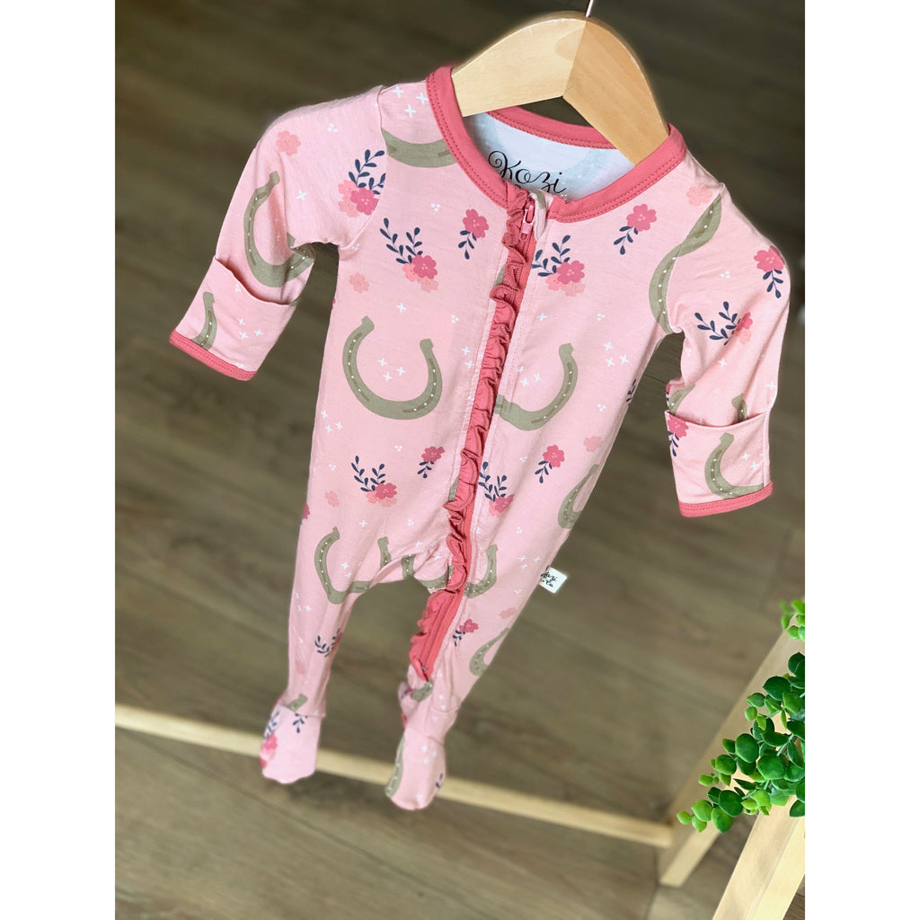 Footed Zipper PJ - Pink Horseshoes w/Ruffle
