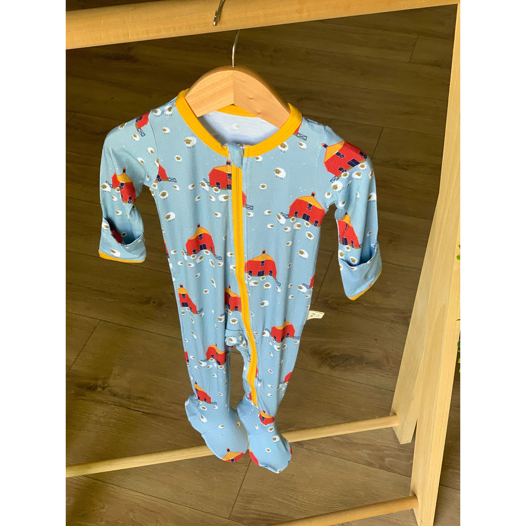 Footed Zipper PJ - Red Barns