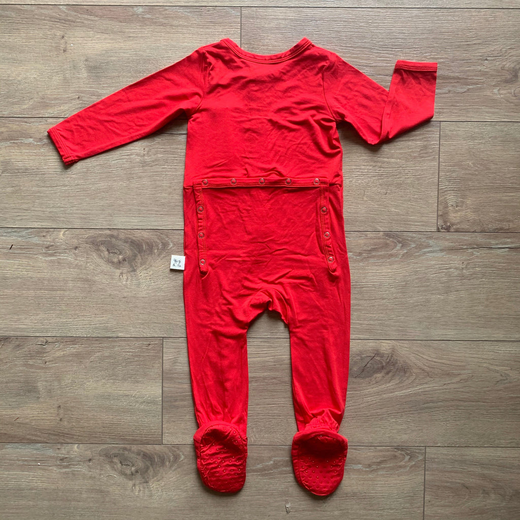 Footie PJ - Holly Red Solid