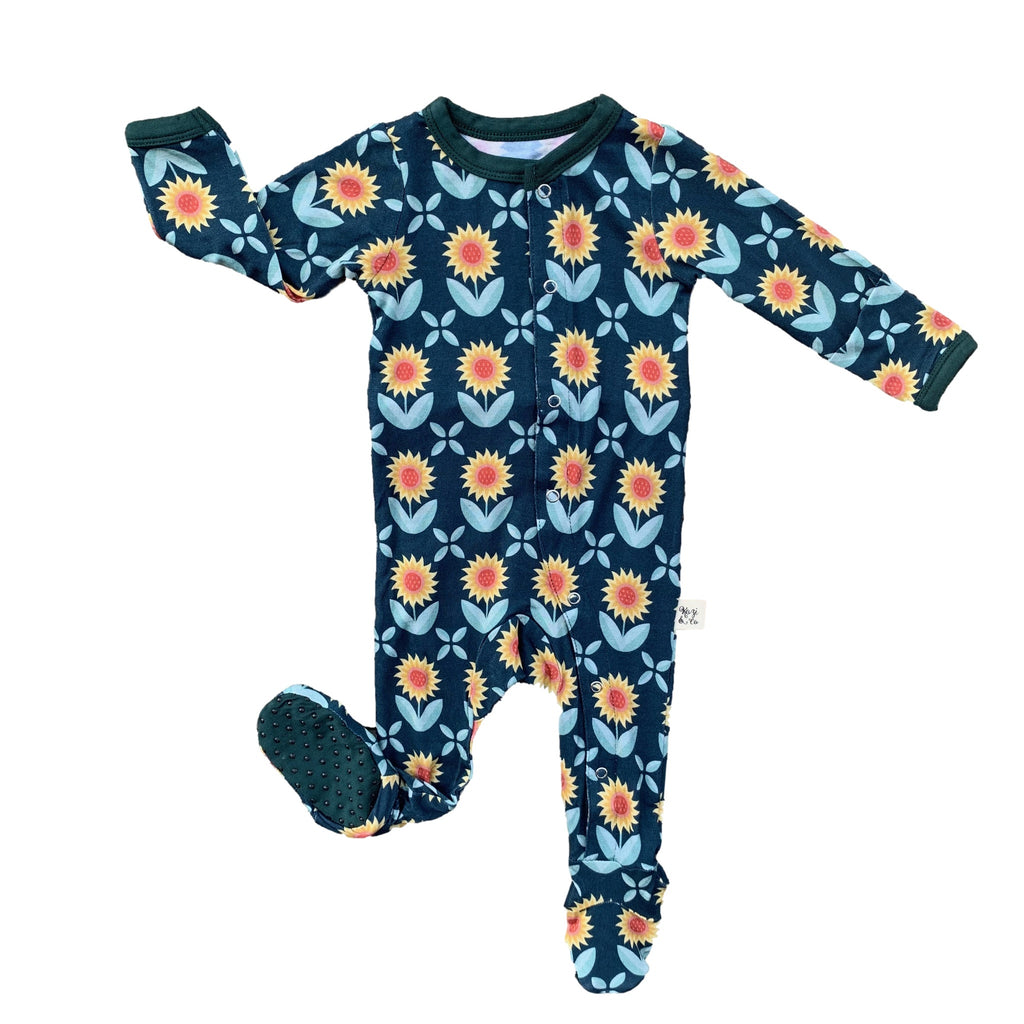 Kozi onesie pajamas with sunflowers