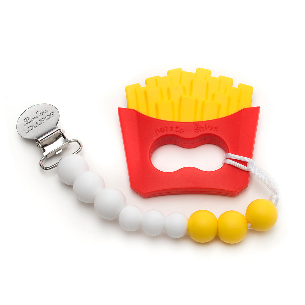 Silicone Teether Holder Set - French Fries