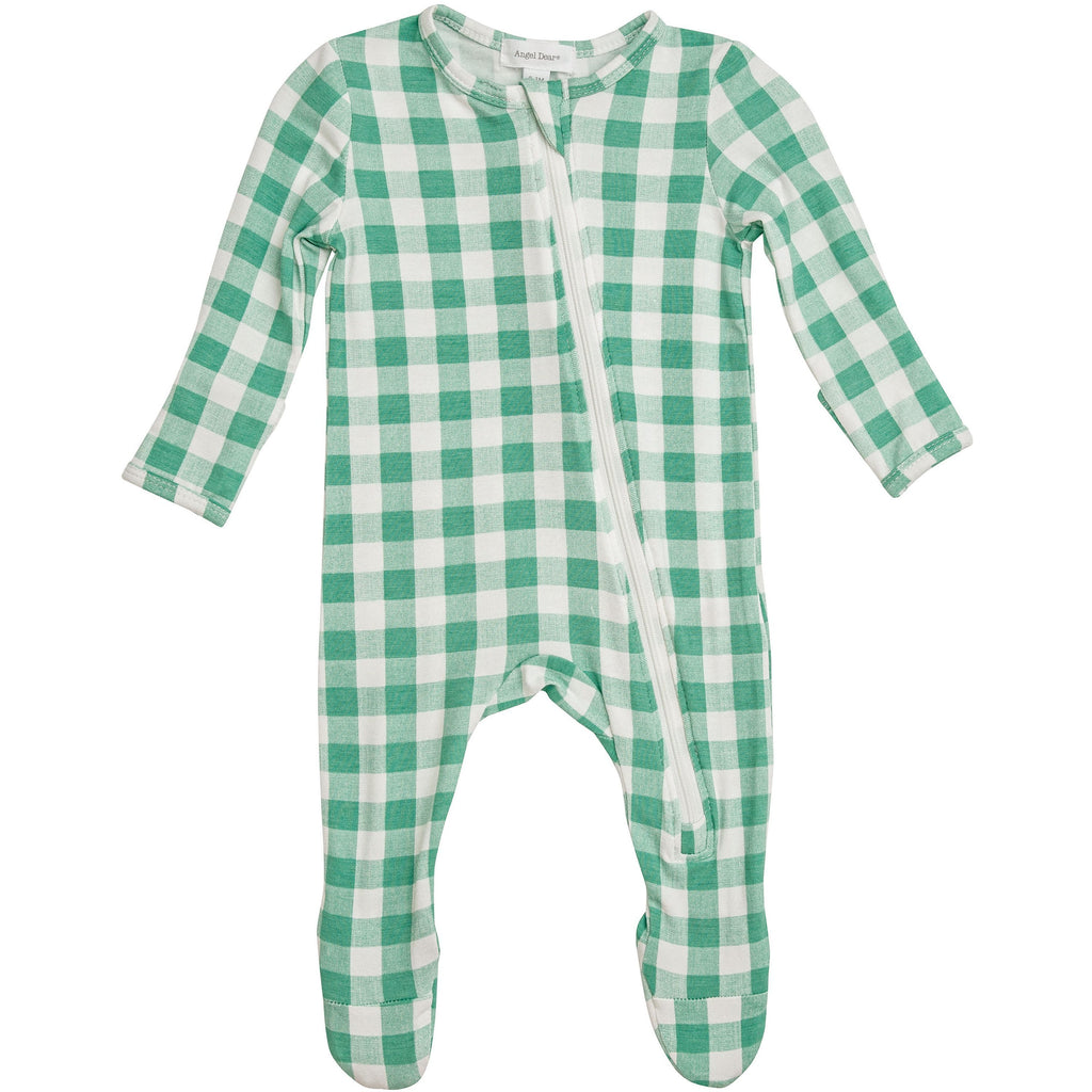 Zipper Footie - Green Gingham