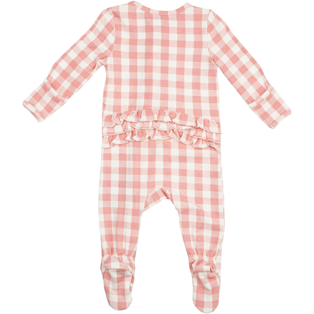 Zipper Footie - Pink Gingham