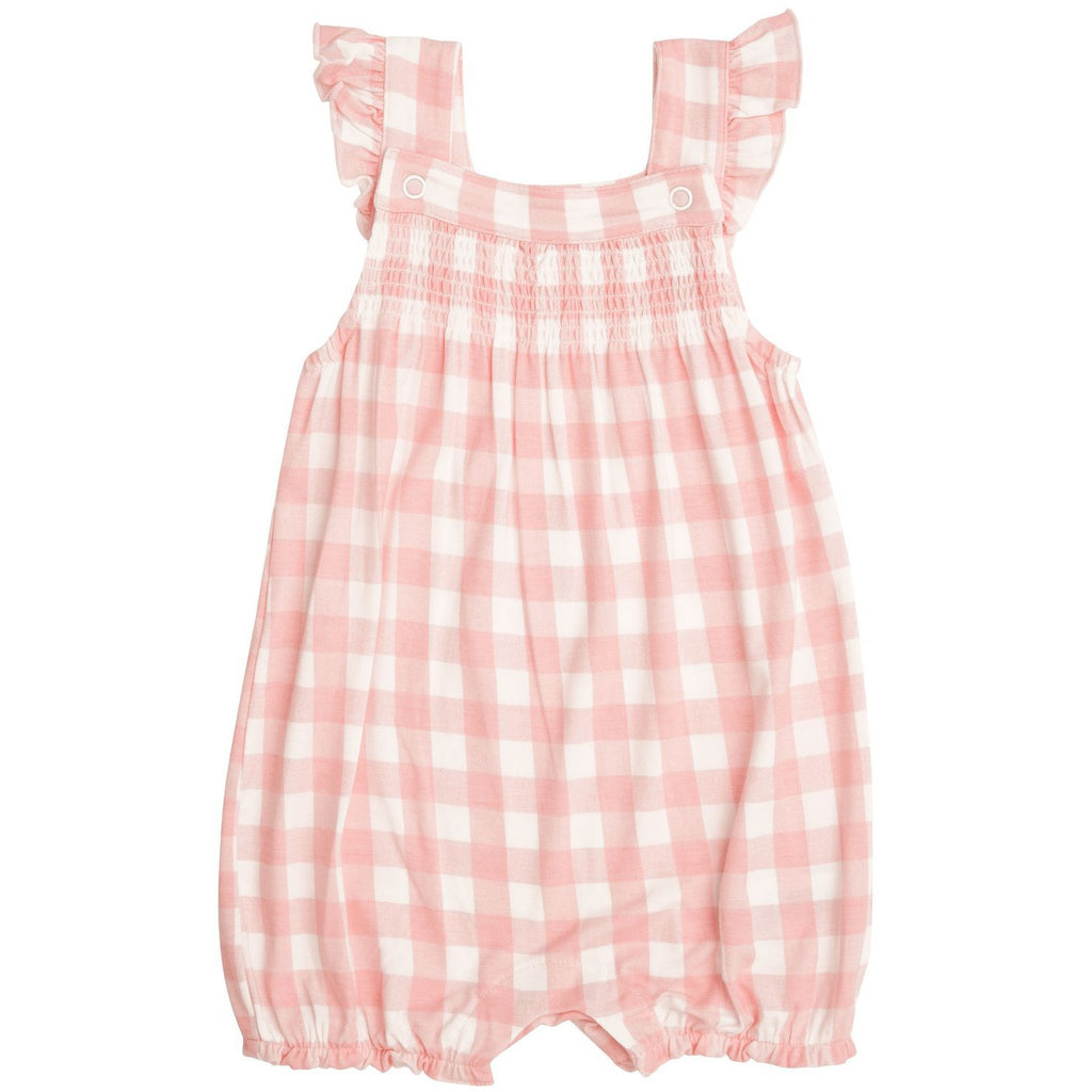 Smocked Overall Shortie - Pink Gingham