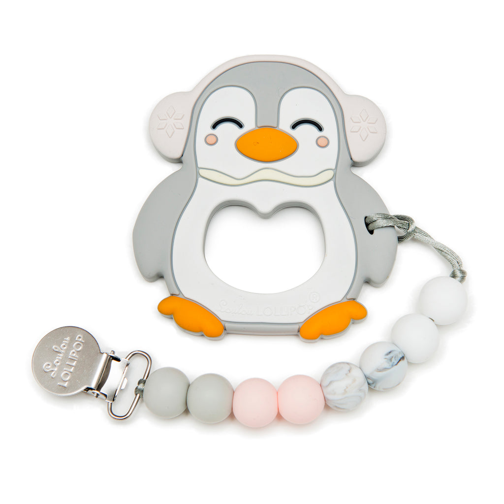 Silicone Teether Holder Set - Gray Penguin