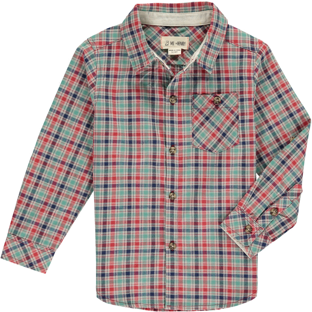 Boy's Shirt - Green/Red Check