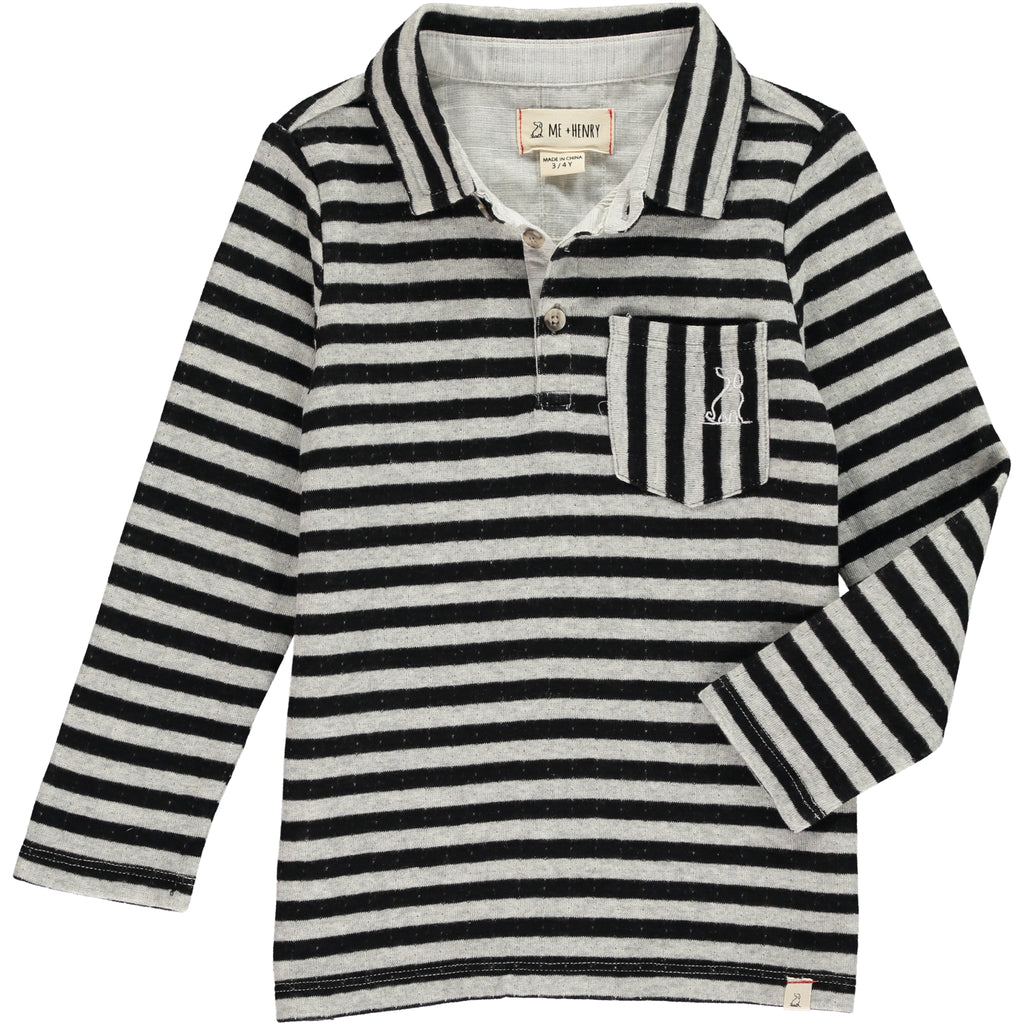 Long Sleeve Polo - Black/Grey Stripe