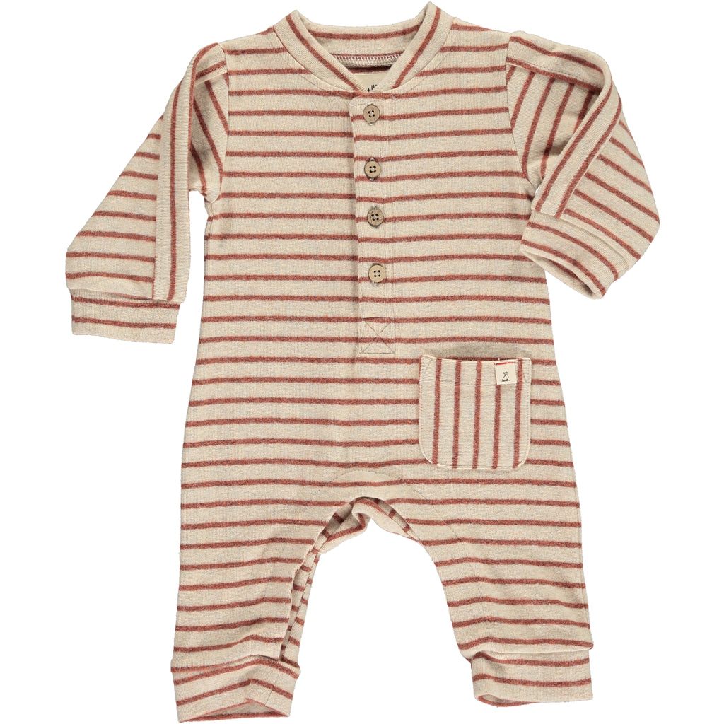 Me & Henry brown and beige long sleeve romper from Collins + Conley
