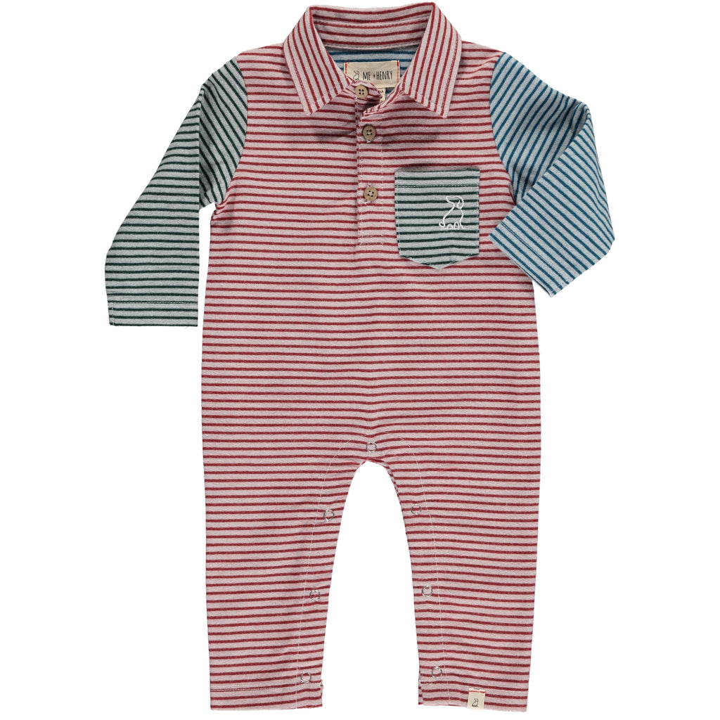 Polo Romper - Red/Multi Stripe