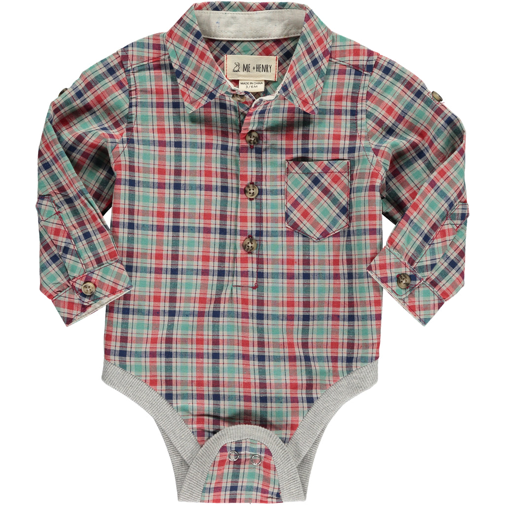 Woven Onesie - Green/Red Plaid