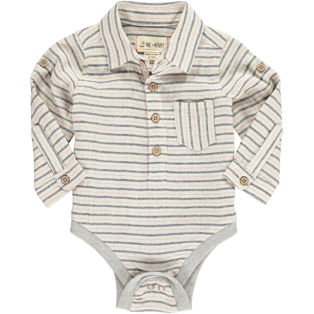 Woven Onesie - Navy/Red Stripe