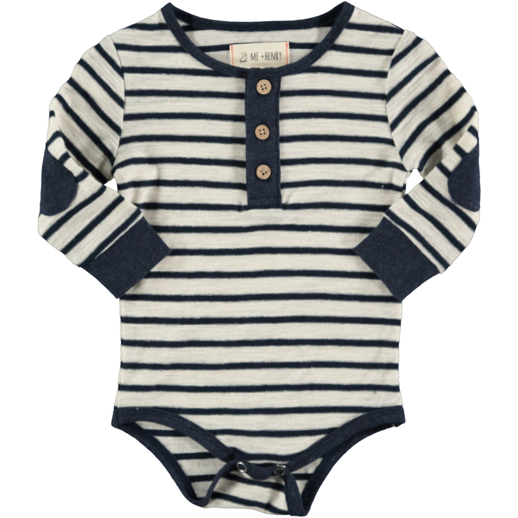 Me & Henry navy stripe henley onesie from Collins + Conley