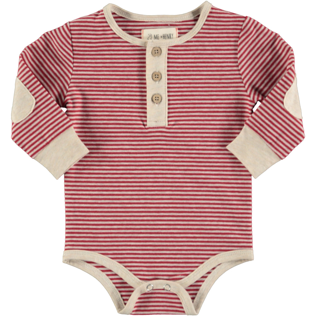 Henley Onesie - Red Stripe