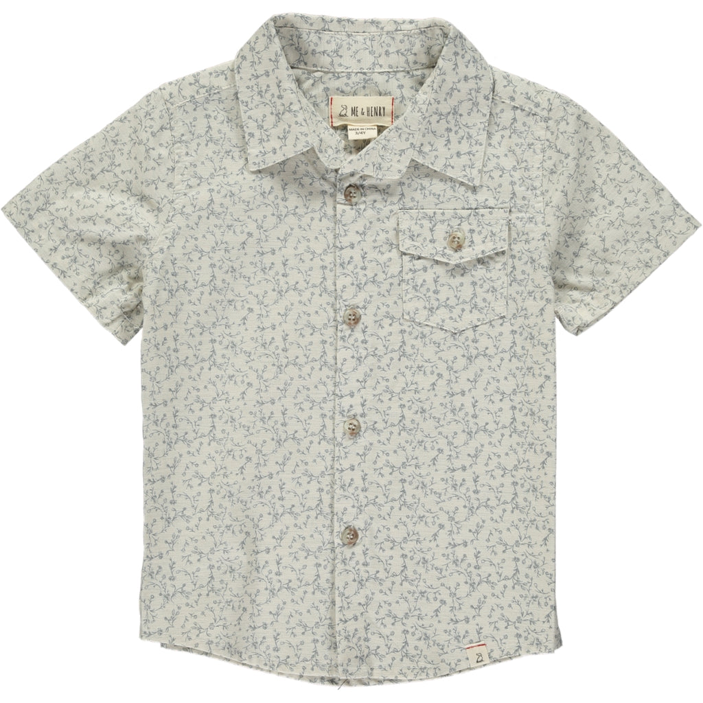 Boy's Shirt - Grey Floral