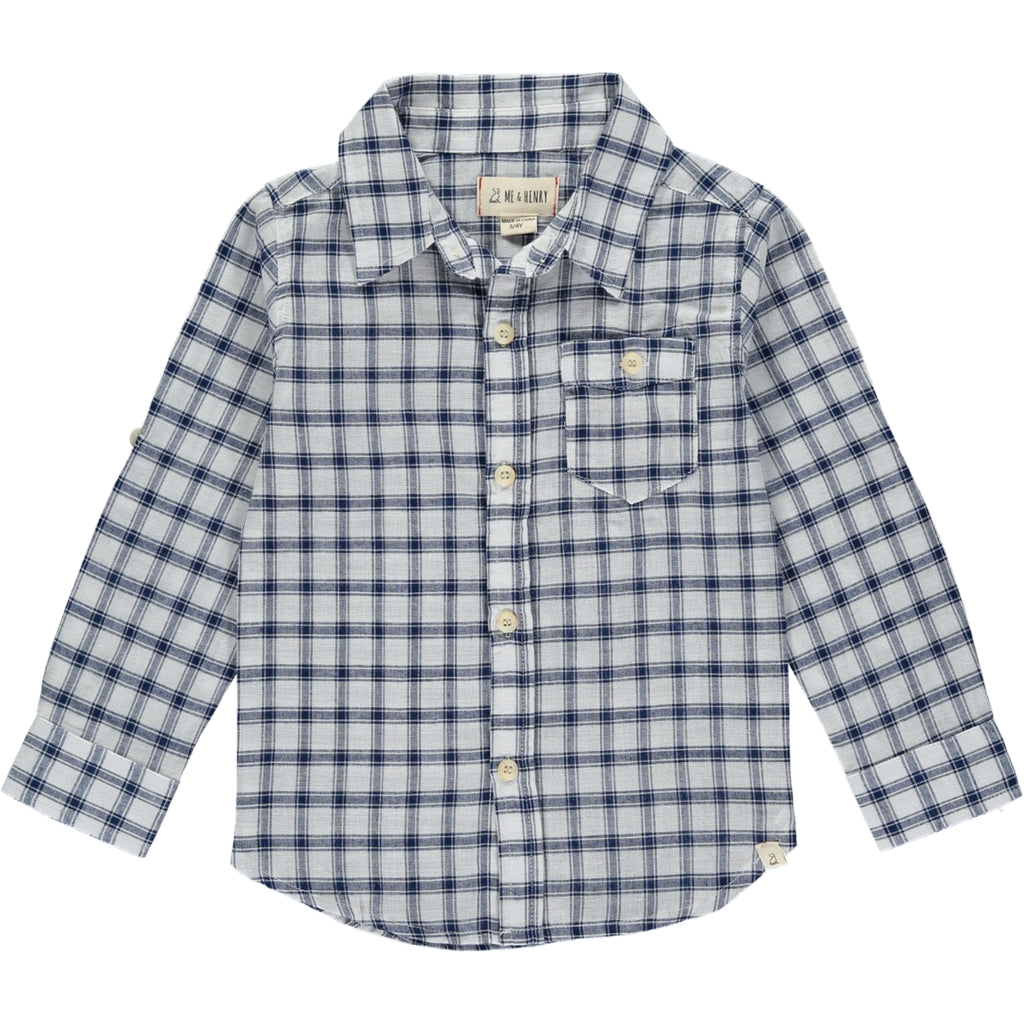 Boy's Shirt - Navy/White Plaid