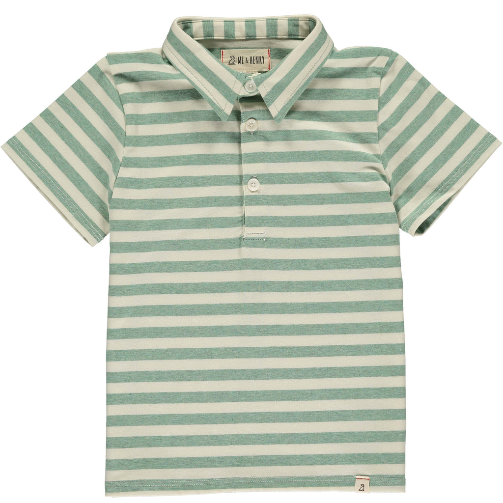 Polo Shirt - Green/Cream Stripe