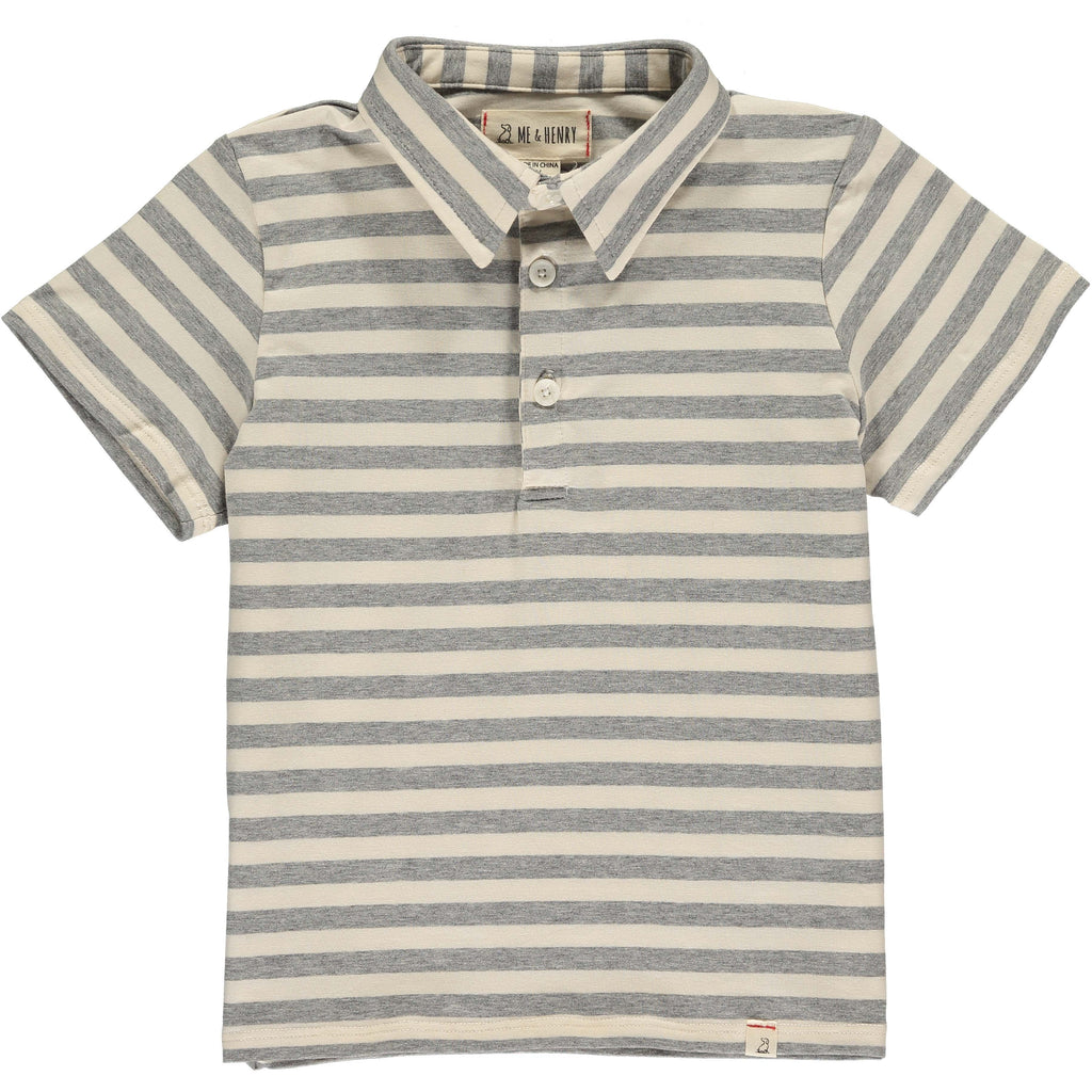 Polo Shirt - Grey/Cream Stripe