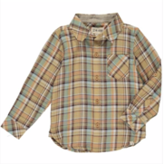 Shirt - Beige/Blue Plaid
