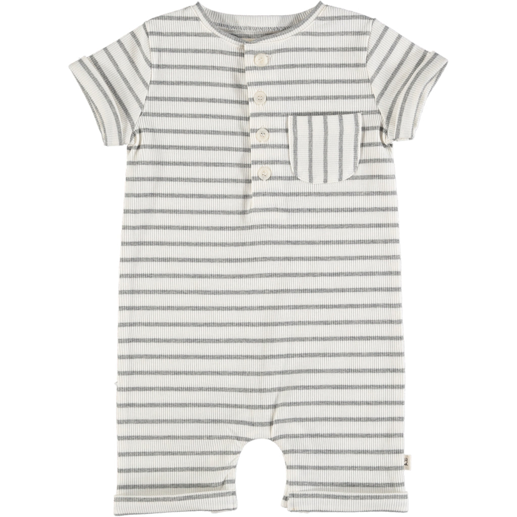 Camborne Henley Romper - Grey/White Ribbed Stripe