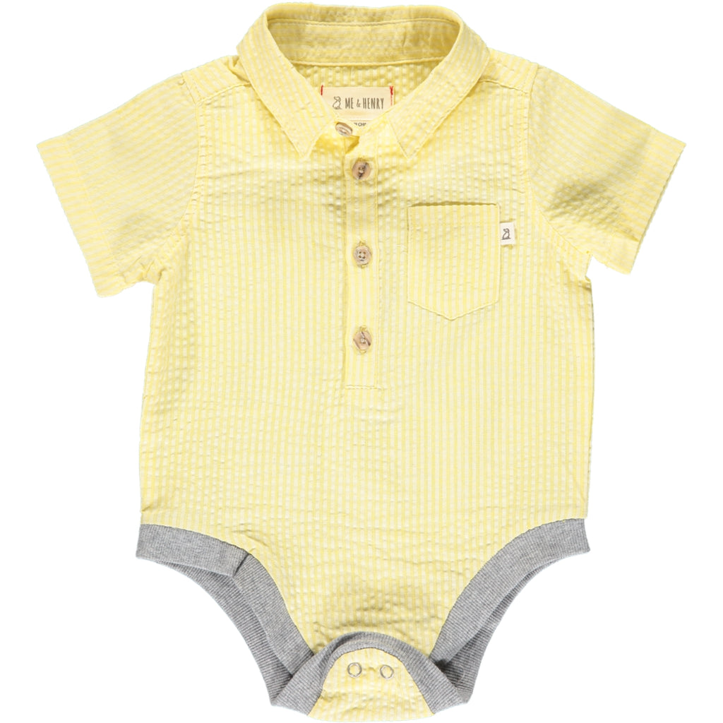 Helford Short Sleeve Onesie - Yellow Seersucker
