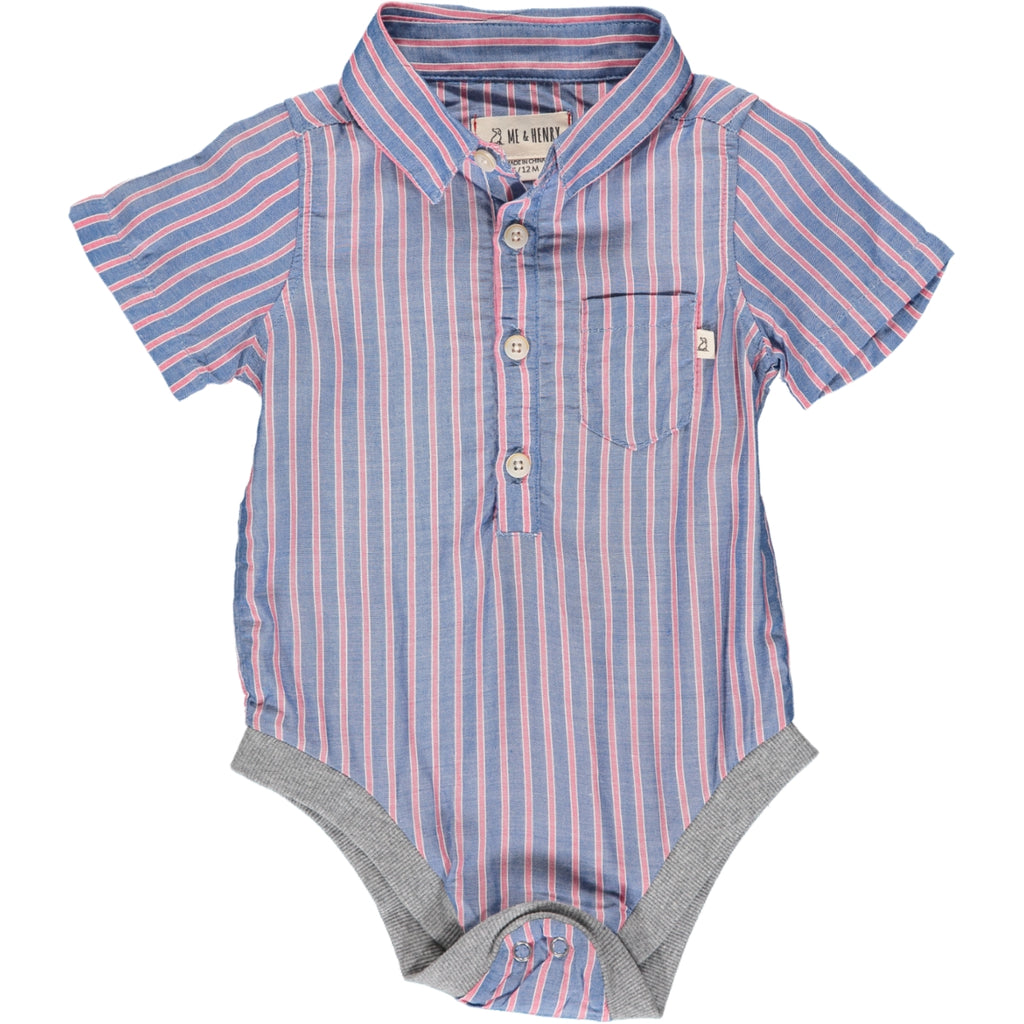 Helford Short Sleeve Onesie - Navy/Red Stripe