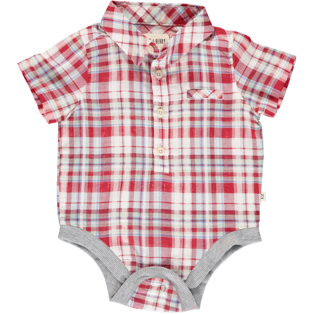 Helford Short Sleeve Onesie - Red/Blue/Green Plaid