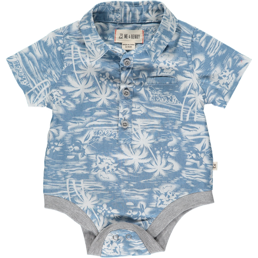 Helford Short Sleeve Onesie - Chambray Surfer