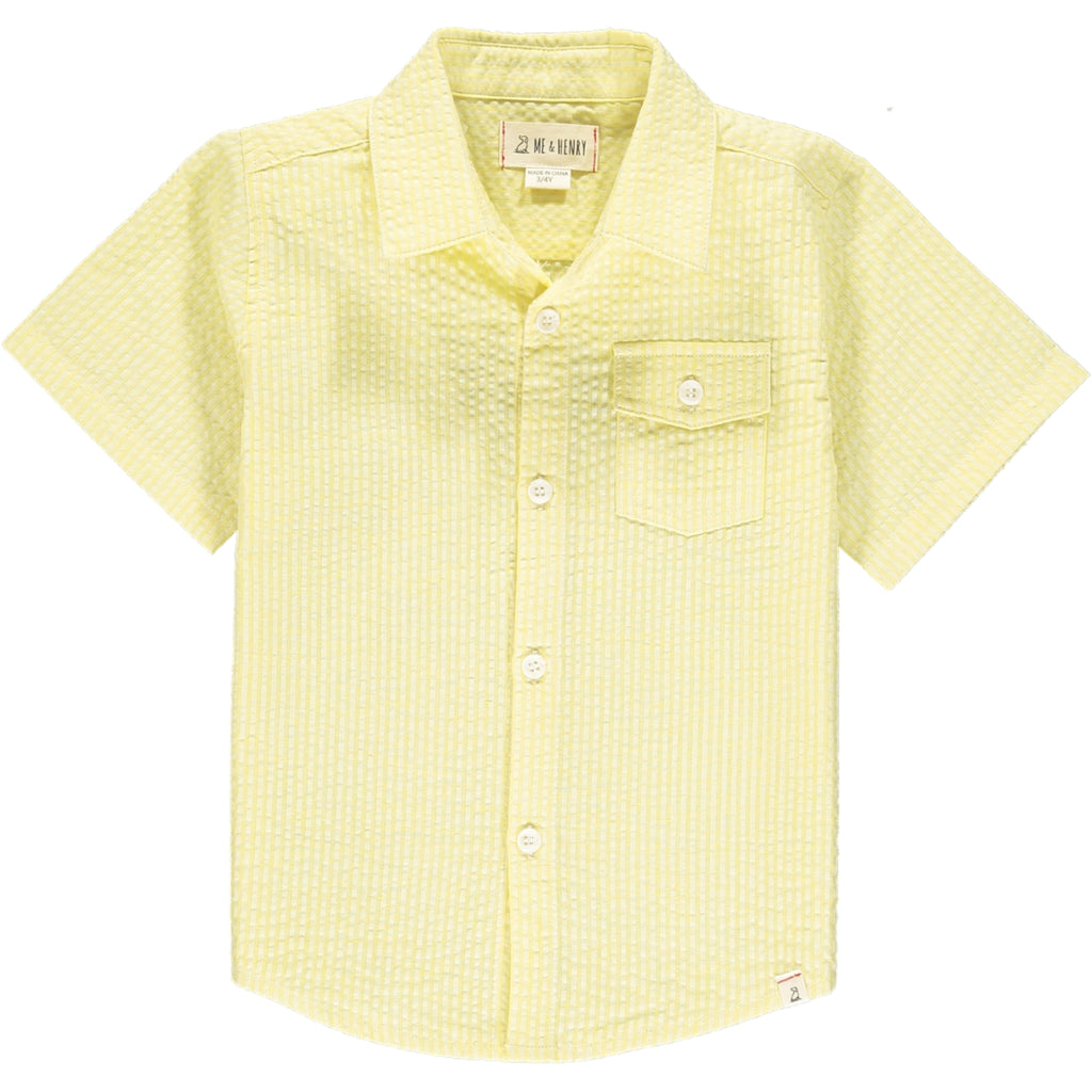 Newport Short Sleeved Shirt - Yellow Seersucker