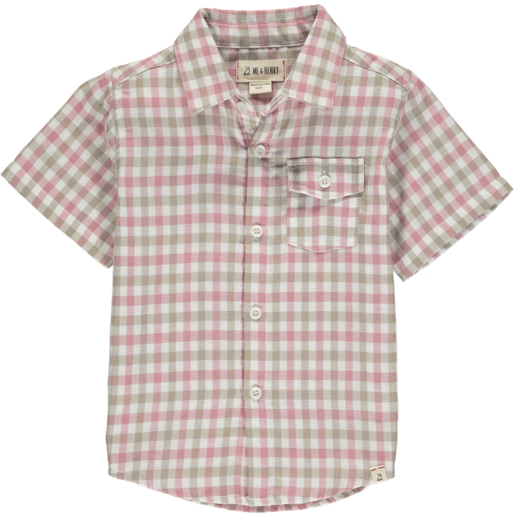 Newport Short Sleeved Shirt - Pink/White Checked