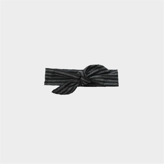 Knotted Headband - Black Charcoal Stripe