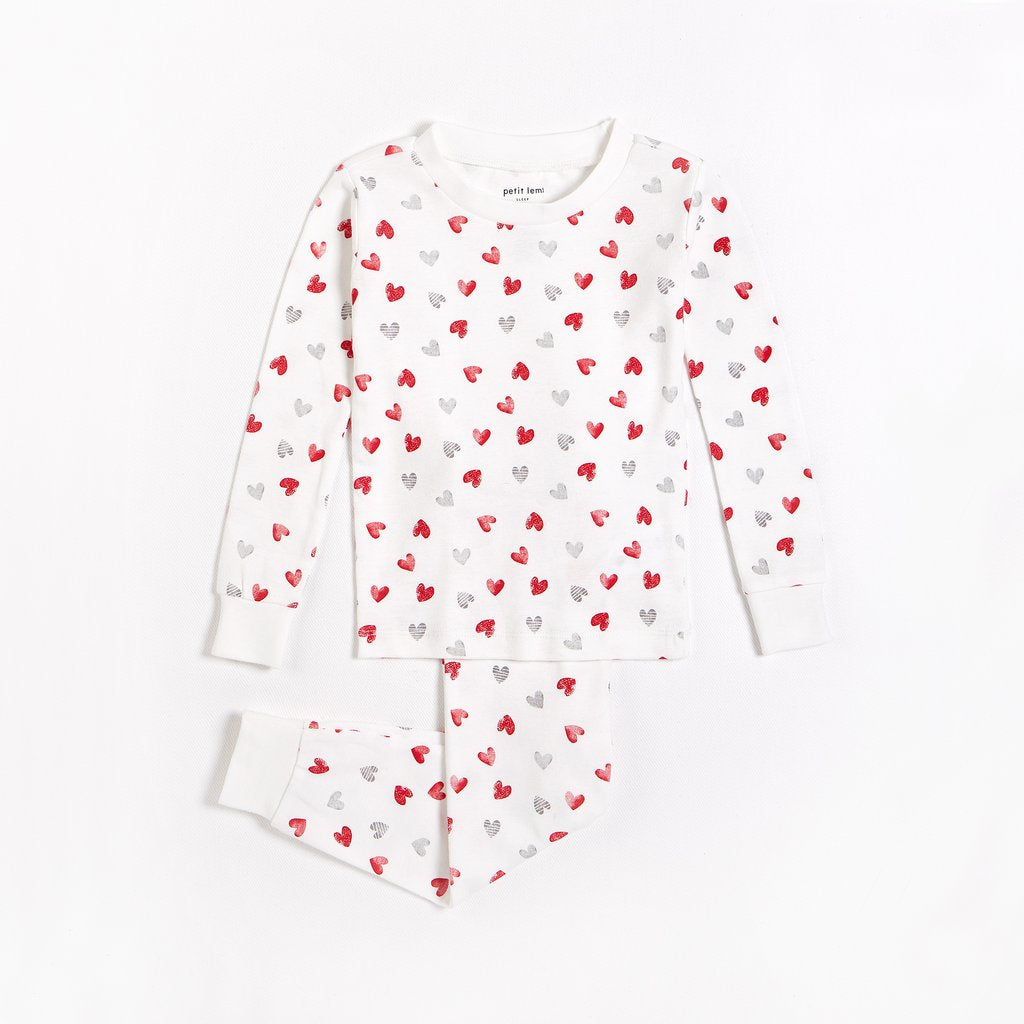 Two Piece PJ Set - Hearts